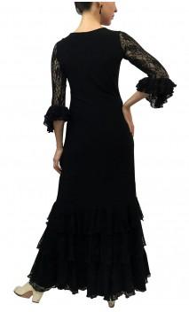 Lila Long-Dress w/ 3 Lace Ruffles
