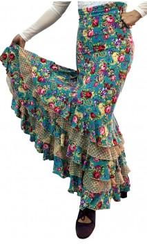 Printed Almería Collin Long-Skirt w/ Tulle