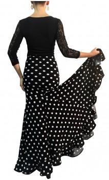 Virna Polka-Dots Long-Skirt Extra Godet
