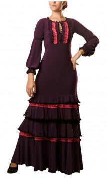 Long-Dress Manuela 4 Ruffles Purple