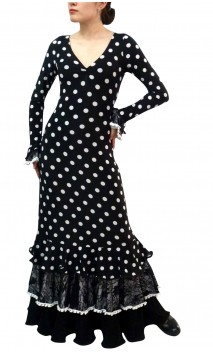 Granadino Lunares Long-Dress 3 Ruffles
