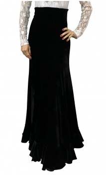 Falda Guadalupe Terciopelo Negro