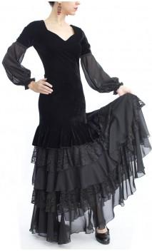 PERLA Velvet Long-Dress 5 Ruffles